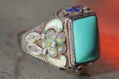 Vintage Chinese Export Sterling Silver Filigree Cloisonne Enamel Turquoise Ring | eBay