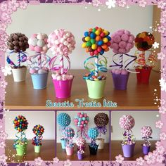Details about Small Mini Sweet Tree Kit Candy Topiary, Candy Trees, Chocolate Flowers, Chocolate Bouquet, Birthday Party Decorations, Birthday Parties, Lollipop Decorations, Candy Centerpieces, Lollipop Tree