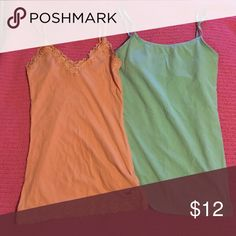 Hollister & Aero camis sz S Gently worn cami's both sz S, peach is Hollister & mint green is Aero Hollister & Aeropostale Tops Camisoles