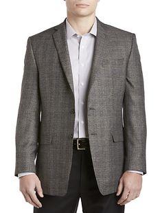 Men's Clearance, Executive 2-Button Silk/Wool Windowpane Check ...