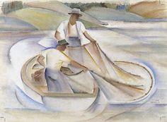 Frank Hinder / Lake Fishermen II / 1938 / watercolour on ivory wove paper