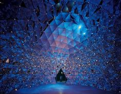 Kristallwelten Swarovski : Wattens, Austria................  Walking Inside a Swarovski crystal.....how cool!!!    The Crystal offers with 590 mirrors on the walls of its dome a colorful kaleidoscope: the light is refracted in all facets. Accompanied stylish is this stunning spectacle with music by Brian Eno and art objects from Susanne Schmögner.