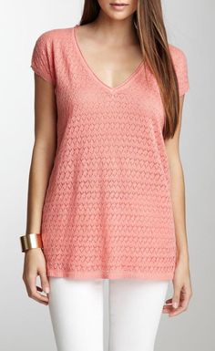 Cap Sleeve Lace Front Linen Sweater