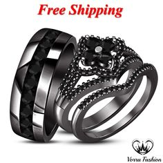 His & Her Diamond Engagement Ring Wedding Band Trio Set Black Gold Silver - CZ, Moissanite & Simulated Black Wedding Ring Sets, Diamond Wedding Sets, Wedding Ring Bands, Gold Wedding, Wedding Decor, Wedding Ideas, Harley Davidson Wedding Rings, Black Gold Jewelry, Round Diamond Engagement Rings