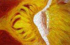 Zonnebloem, schilderij van Ineke Grafe   Abstract   Modern   Kunst