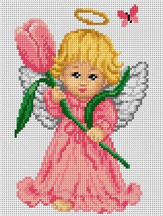 Cross Stitch Angels, Cross Stitch For Kids, Cute Cross Stitch, Cross Stitch Rose, Cross Stitch Flowers, Hand Embroidery Tutorial, Embroidery Patterns, Cross Stitching, Cross Stitch Embroidery