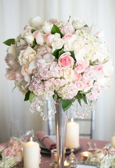 Display your floral arrangement in a large vessel to create a dramatic look.