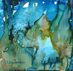 """Abstract Expressionism, Alcohol Ink Painting """"Undersea Garden II"""" by New Orleans Artist Lou Jordan"""