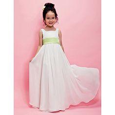 A-line Square Floor-length Chiffon Flower Girl Dress  – AUD $ 70.82