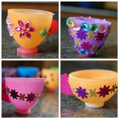 Make tiny tea cups with leftover plastic eggs from Easter. Girls Tea Party, Princess Tea Party, Tea Party Birthday, Plastic Easter Eggs, Easter Egg Crafts, Fun Crafts, Crafts For Kids, Teacup Crafts, Girl Scout Crafts
