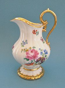 Antique Meissen Dresden China Pitcher Hand Painted w Flowers Gold Enamel Trim | eBay