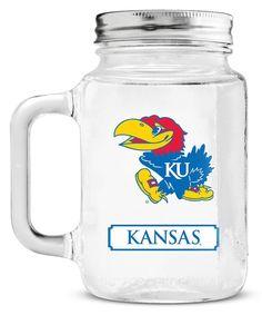 Kansas Jayhawks Mason Jar Glass With Lid