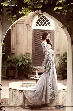 Grey lengha by Elan Bridals
