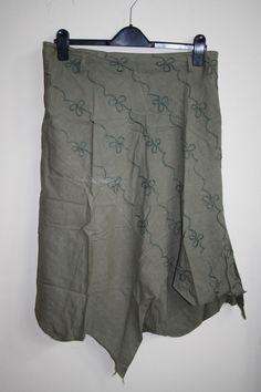 Unbranded Fashion Designer Casual Assymetrical Linen Cotton Skirt Khaki Floral L…