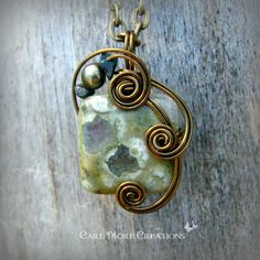Green Rhyolite Wire Wrapped Pendant Necklace by CareMoreCreations.com, $25.00