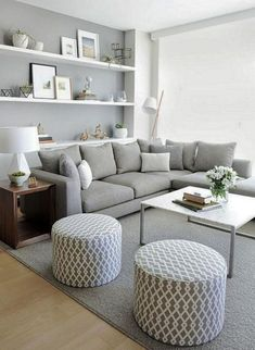 living room furniture in gray and white