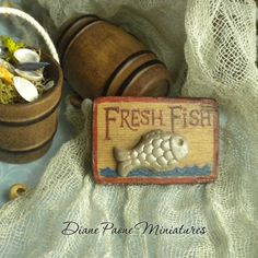 Rustic Hand Painted 3D Sign Fresh Fish IGMA Diane Paone by dpaone