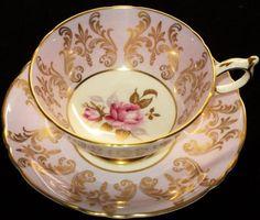 4:00 Tea...Paragon...Mauve and Gold  Gilt with Rose center...teacup and saucer