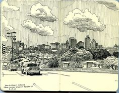 art journal sketchbook inspiration - black  white - plein air - san antonio skyline from alamo stadium parking lot