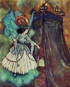 "Edmund Dulac ~ Beauty and the Beast ~ Sleeping Beauty and Other Fairy Tales from the Old French ~ Retold by Sir Arthur Quiller-Couch ~ Hodder & Stoughton ~ 1910    ""She found herself face to face with a stately and beautiful lady."""