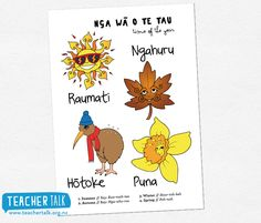 Seasons Poster - in te reo Maori Learning Resources, Teaching Tools, Preschool Crafts, Crafts For Kids, Children's Picture Books, Early Childhood Education, Kids And Parenting, Kids Playing, Seasons