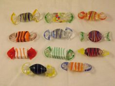 Murano Glass Candy 11 Pieces Hand Blown Italy Art Collect Italian Import