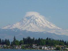 Mt Rainier, Washington state.. Mt St Helens big brother....(volcano)