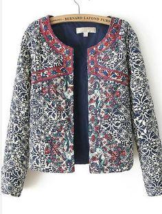 Retro Print round neck jacket #StayClassy #BeStylish #CreateFashion www.covetlane.com
