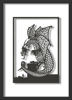 Papercut Art: Looming Dragon, A4 size. via Etsy (one for Ollie, @Rosie HW Carson )