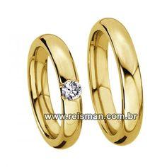 Alianças Florida em Ouro 18klts 750- Ref: 8540 - Reisman Alianças de Casamento, Noivado, Bodas e Anéis de Noivado