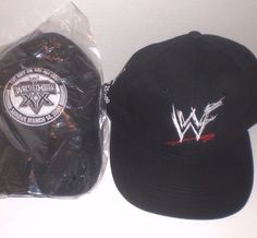 competitive price 37f79 01adb WWF WWE Wrestling Caps Hat Lot Scratch Logo NYSE 2000 Wrestlemania 2004  Black