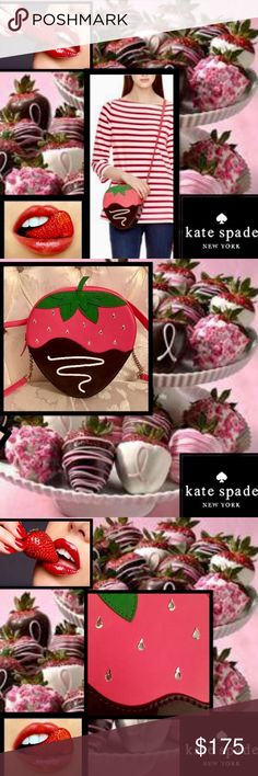 "🆕🍓Kate Spade🍓CremeDeLaCremeStrawberryCrossbody 🍓Treat yourself to the creme de la ceame of bags🍓Satisfy your sweet tooth with this charming🍓sparkling chocolate dipped strawberry bag🍓 7""L x 7.6""H x 2.5""W strap 49"" dakota leather with patent 🍓kate jacquard lining cross body bag with zipper closure gold staple kate spade new york signature🍓Swarovski Crystals drip adding bling🍓 matching coin purse listed🍓💋 kate spade Bags Crossbody Bags"