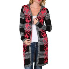 Derek Heart Women's Aztec Hooded Sweater