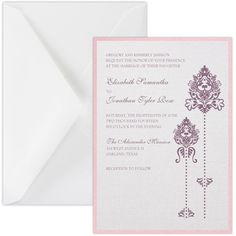 Double Bloom Layered Invitation with two layers of card stock available in metallic and shimmer card stock - top layer with two blooming floral designs
