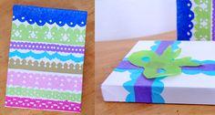 uniqute tissue paper cutouts as gift wrap