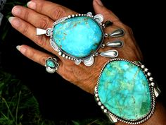 """Gigantic Navajo Cuff and Pendant -  Turquoise Mountain Cuff signed """"M"""" and Gigantic """"Gilbert Tom"""" Turquoise PendantT. $5,000.00, via Etsy."""
