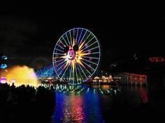 show+luces+disney+aguas+danzantes California, Ferris Wheel, Fair Grounds, Travel, Disneyland, United States, Lights, Viajes, Pictures