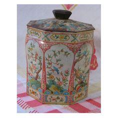 english vintage tea tins | Vintage 1950s English Tin Box for Tea or Biscuits - Asian Theme ...