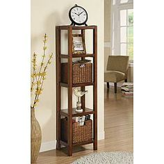 Add Additional Storage To Your Living Space With This Beautiful Storage  Unit With Baskets. The Five Shelf Unit Comes With To Large Baskets So You  Can Store ...