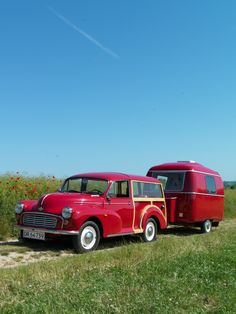 I am in love - a red caravan and a cute little car!