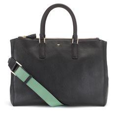 Black Capra Ebury Soft Top Handle Anya Hindmarch Handbags
