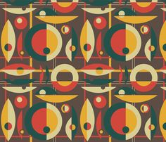 Mid-Century Modern - Circle Grid fabric by studiofibonacci on Spoonflower - custom fabric