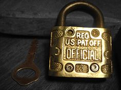 Patent Office Lock Brass Padlock with Key by RustyNailDesign