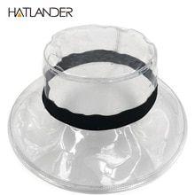 HATLANDER Fashion transparent sun visor hats for women stylish PVC bucket hat  female street e83af9104cd6