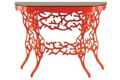 Red coral console table