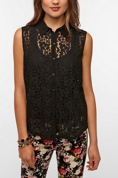 Kimchi Blue Lace Button-Down Tank Top  #UrbanOutfitters