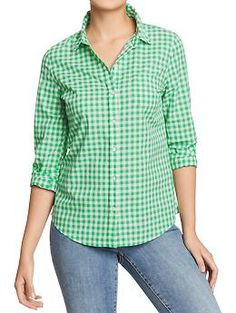 Womens Lightweight Patterned Shirts - I wear this over the green Savannah dress, tied at the waist, and pair it with a yellow handbag and casual sandal heels. So cute!