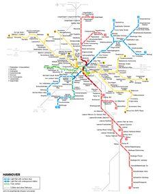 Hannover Stadtbahn map © UrbanRail.Net
