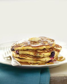 Blueberry-Cornmeal Pancakes (I subbed coconut oil for butter then added a little butter extract-and they were tasty!)