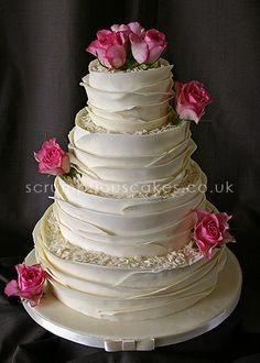 Wedding Cake - White Chocolate Wrap & Fresh Roses